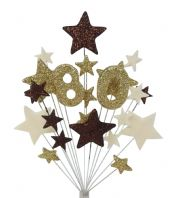 Number age 80th birthday cake topper decoration in choc, gold and cream - free postage